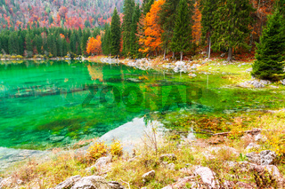 Lake Fusine ( Lago di Fusine) mountain lake  in north Italy