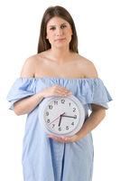 Female Holding a Clock