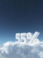 die zahl fünfundfünfzig und prozentzeichen auf wolken - 3d rendering