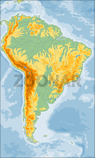 Physical South America map