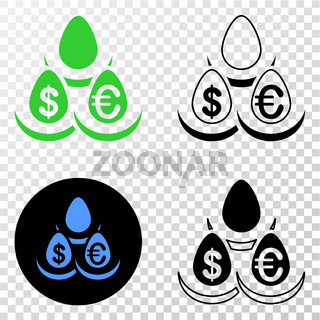 Currency Deposit Eggs Vector EPS Icon with Contour Version