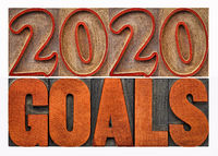 2020 goals word abstract in wood type