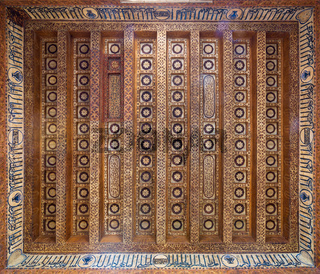 Wooden ceiling decorated with floral patterns at Mamluk era Amir Taz Palace, Cairo, Egypt