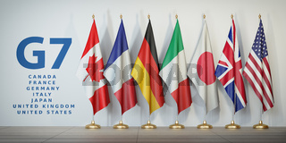 G7 summit or meeting concept. Row from flags of members of G7 group of seven and list of countries,