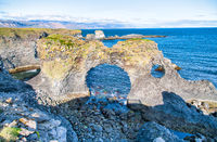 Gatklettur natural arch along the ocean, Arnarstapi, Iceland