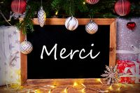 Chalkboard, Tree, Gift, Fairy Lights, Merci Means Thank You