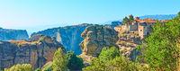 Panorama of Meteora in Greece