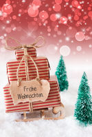 Sled, Snow, Present, Frohe Weihnachten Means Merry Christmas, Red Background