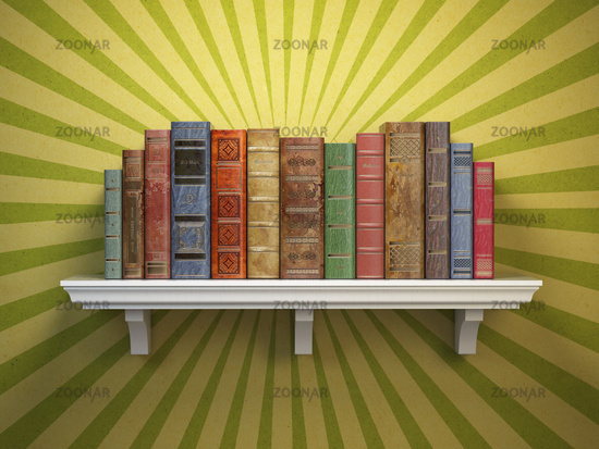 Old vintage books on shelf. Classic literature and education vintage concept.