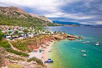 Krk. Camping by the sea on Stara Baska cliffs