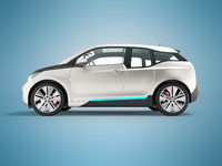 Modern electric car on the right gray 3d render on blue background with shadow