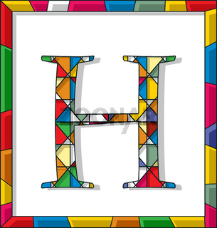 Letter H in stained glass