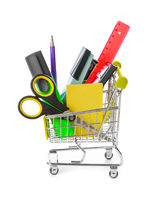 Stationery in shopping cart