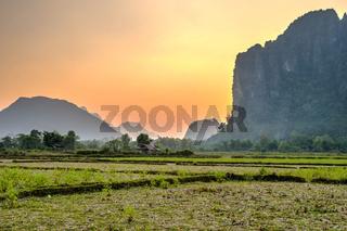 Beautiful landscape in sunset, Vang Vieng