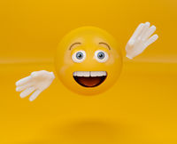 Presenting emoji on orange background, greeting emoticon