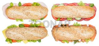 Brötchen Sandwich Sammlung Vollkorn Baguette Käse Salami Schinken Lachs Fisch von oben freigestellt Freisteller