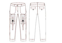 Cargo pants with large side pockets technical sketch. Front and back views - Vektorgrafik