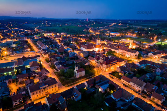Town of Krizevci aerial panoramic night view