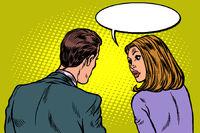 Man and woman dialogue