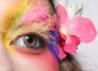 Woman with fashion feather eyelashes make-up