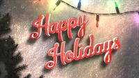 Happy Holidays text, colorful garland and Christmas green tree branches