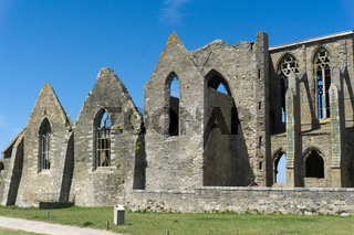 view of the ruins of the Abbey of Saint Mathieu in Brittany