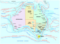 Map of the sea and coastal currents in the Australian region