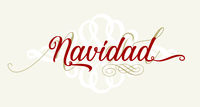 Christmas text in spanish with flourishes. Isolated.