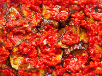 middle eastern stewed eggplant food background