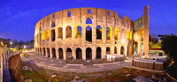 Rome. Colosseum square panoramic evening view in Rome