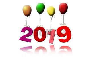Luftballons fliegen mit Jahreszahl 2019