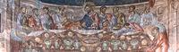 Das letzte Abendmahl, Fresken in der Apsis der Basilka im St. Georg Kloster,Ubisa,Imeretien,Georgien