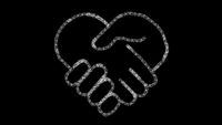 heart-shaped hand icon designed with drawing style on chalkboard, animated footage ideal for compositing and motiongrafics