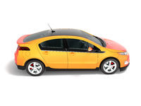 Modern electric car orange red for city side perspective 3d render on white background with shadow