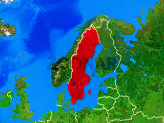 Sweden on Earth with borders