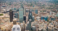 London skyline aerial view. Business buildings and skyscrapers, corporate concept
