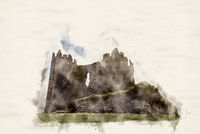 Watercolor Castle Ruin