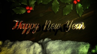 Happy New Year text, white snow and green Christmas branch on wood