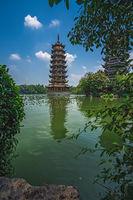 Sun Pagoda Tower at Shan Lake in Guilin