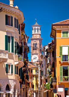 Verona colorful street and Lamberti tower view