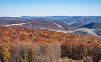 View over the Allegheny Mountains of West Virginia to new US48 highway