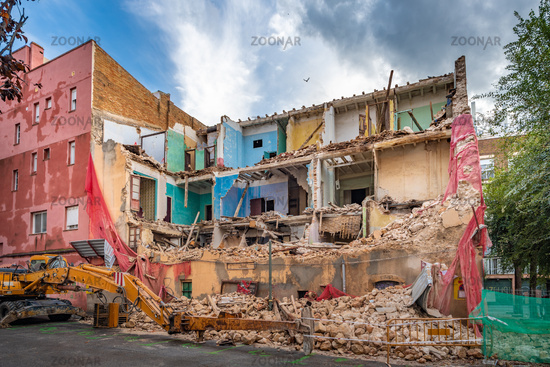 Demolition of the building. Destroyed old house.