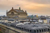 Paris France aerial view city skyline at Paris Opera