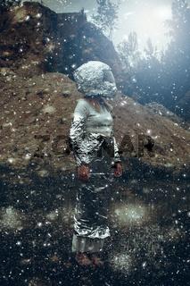 Extraterrestrial woman with helmet in rocky scene