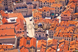 Dubrovnik old town streets aerial view