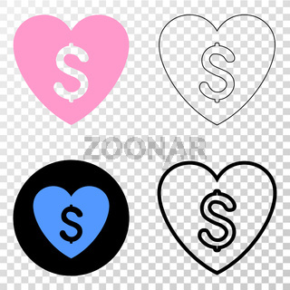 Love Price Vector EPS Icon with Contour Version