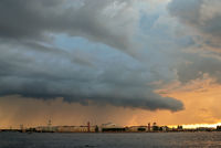 Dramatic cloudscape over St. Petersburg, Russia