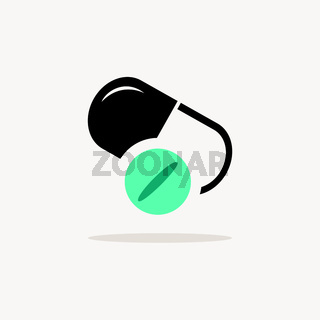 Pill and capsule. Icon with shadow on a beige background. Pharmacy vector illustration