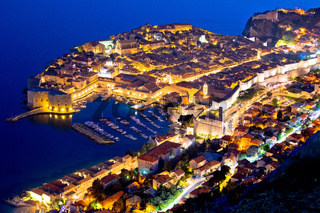Historic town of Dubrovnik aerial evening view