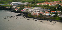 Sanset view to Porto Pim Bay from mount Guia at Faial island, Azores, Portugal